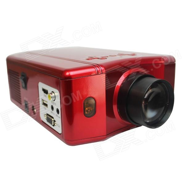 RuiQ 50W LED Multimedia 3D Projector w/ VGA / HDMI / AV / USB - Red