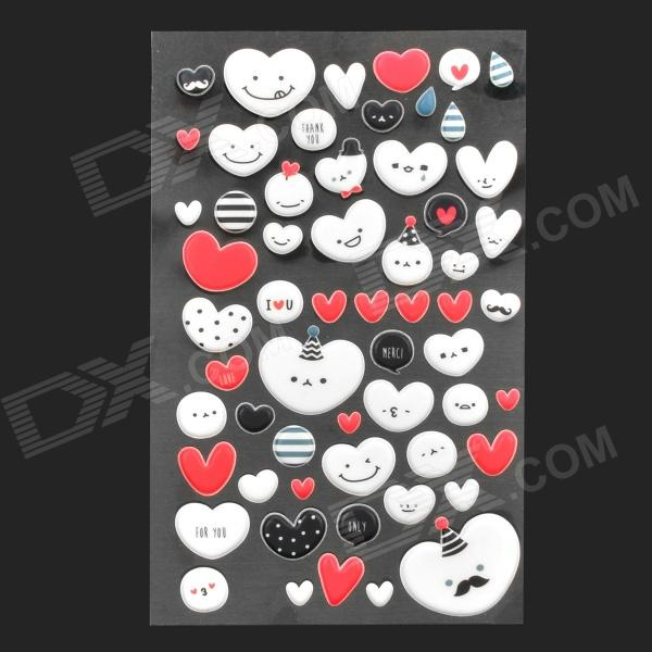 DIY 3D Glow-in-the-Dark Heart Smile Style Sticker for Cell Phone - White + Black + Red universal nylon cell phone holster blue black size l