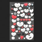 DIY 3D Glow-in-the-Dark Heart Smile Style Sticker for Cell Phone - White + Black + Red