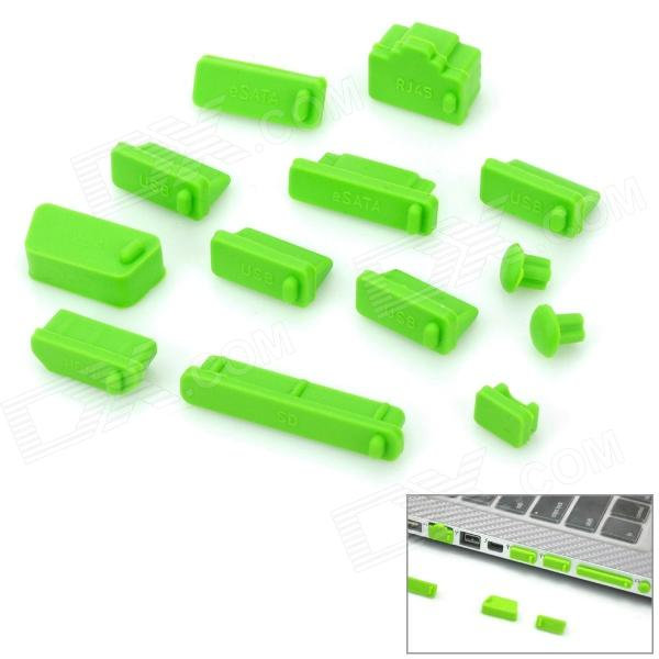 Universal Laptop 13-in-1 Silicone Dust-Proof Plugs Set - Green