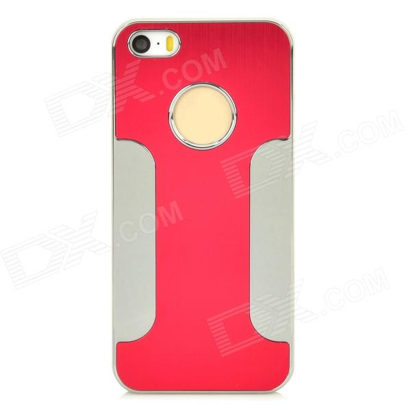 DETI-002 Protective PC + Alloy Back Case for Iphone 5 / 5s - Red + Silver elegance tpu pc hybrid back case with kickstand for iphone 7 plus 5 5 inch red