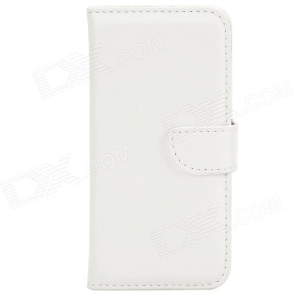 DYTI-003 Protective PU Leather + PC Case for Iphone 5 / 5s - White solid color litchi pattern wallet style front buckle flip pu leather case with card slots for doogee x10