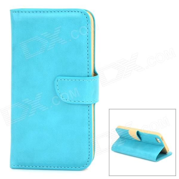 DYTI-003 Protective PU Leather + PC Case for Iphone 5 / 5s - Turquoise usams protective pu leather flip open case for iphone 5c blue