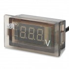 YouLiang 12~24V Motorcycle 3-Digit Red Digital Voltmeter - Black + Translucent Black