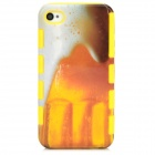 Beer Pattern Protective Plastic Back Case for Iphone 4 / 4s - Yellow + White