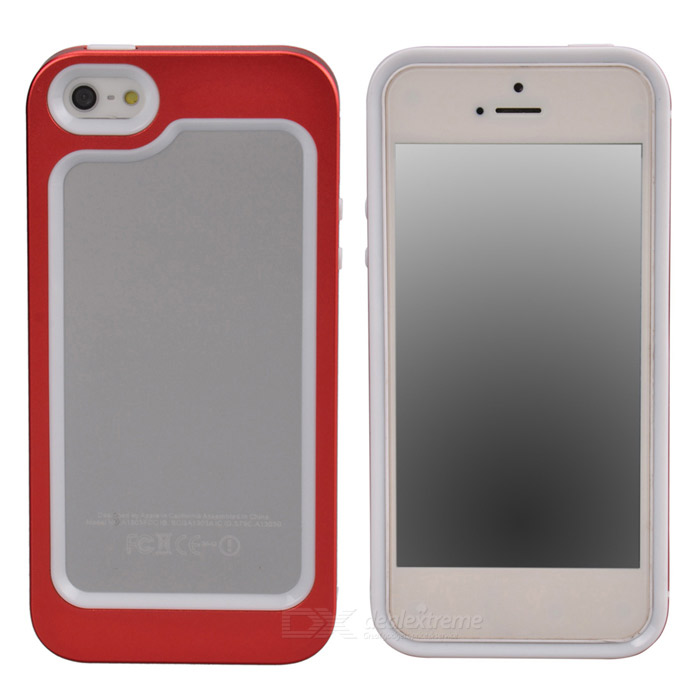 Zomgo Stylish Protective Aluminum Alloy + Silicone Bumper Frame for Iphone 5 / 5s - Red + White zomgo stylish protective aluminum alloy silicone bumper frame for iphone 5 5s red white