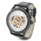 PU Band Skeleton Analog Automatic Mechanical Watch for Men
