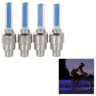 Bike Bicycle Blue Flashing Valve Sealing Cap - Blue + Silver (4 PCS / 3 x AG10)