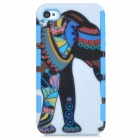 Stylish Cartoon Elephant Pattern 2-in-1 Plastic Back Case for Iphone 4 / 4s - White + Light Blue