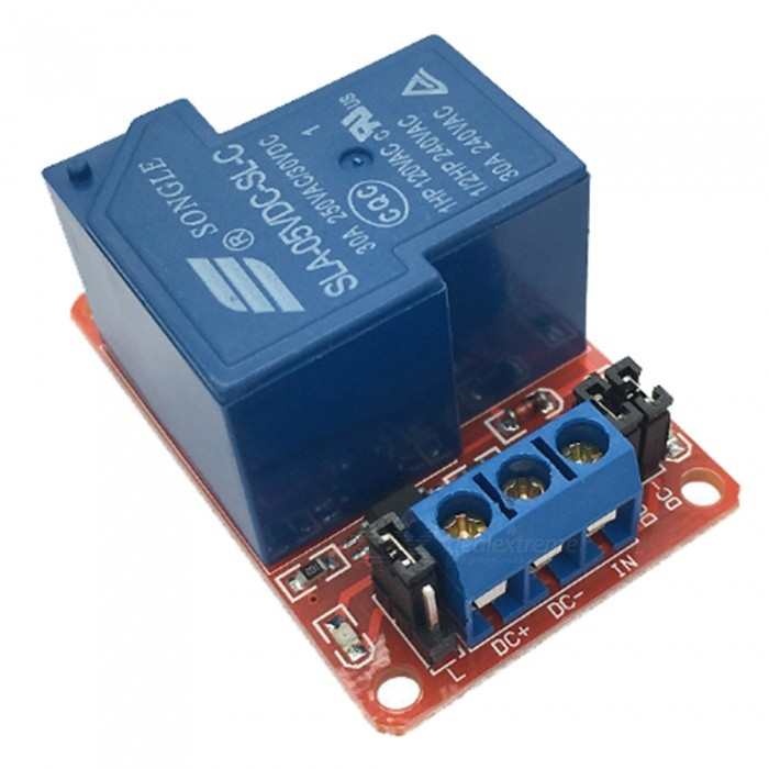 Produino 1-CH 5V 30A Relay Module w/ Optocoupler Isolation - Deep Blue fused 4 dpdt 5a power relay interface module g2r 2 12v dc relay