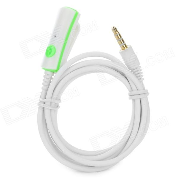 Universal Clip-on 3.5mm Male to Female Extension Cable w/ Microphone - White (120cm)