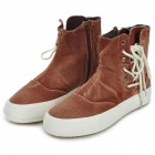 Arrow W2009 Fashion Women's Canvas Shoes w/ Side Zipper - Brown + White (EUR Size 39 / Pair)
