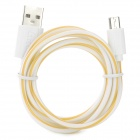 Stylish Micro USB Male to USB Female Plastic Shell Data Charging Cable - Yellow + White (100 cm)