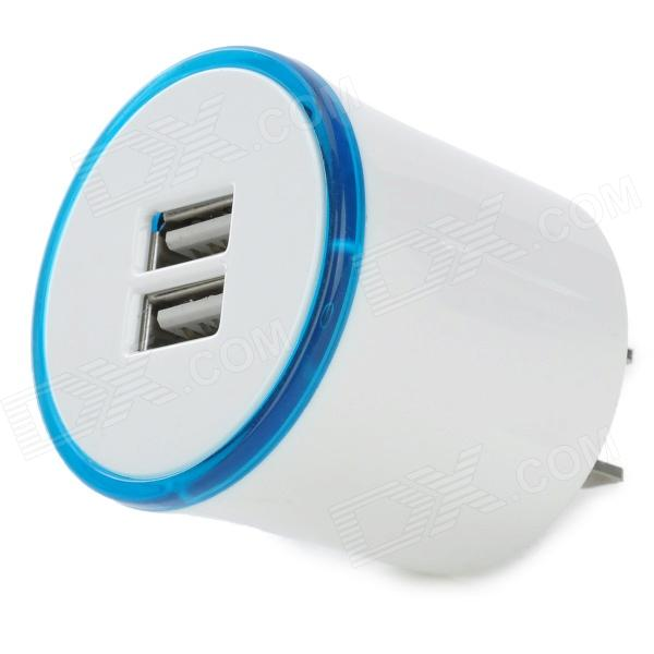 W-723 2.1A 5V Portable US Plug Dual USB Charging Adapter - White + Blue + Multicolored (110~240V) hoco uh206 dual usb charging adapter