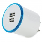 2.1A 5V Portable US Plugs Dual USB Charging Adapter - White + Blue + Multicolored (110~240V)