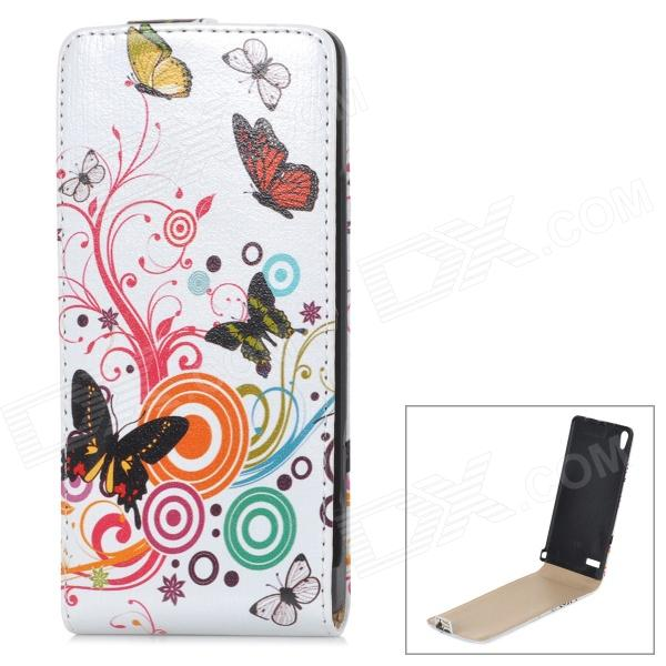 Butterfly & Flower Style Protective Flip-Open PU Leather Case for Huawei P6 - White + Multicolor