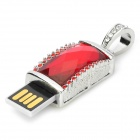 SZ-8 Keyring Zinc Alloy + Rhinestones USB 2.0 Flash Drive - Red + Silver (16GB)