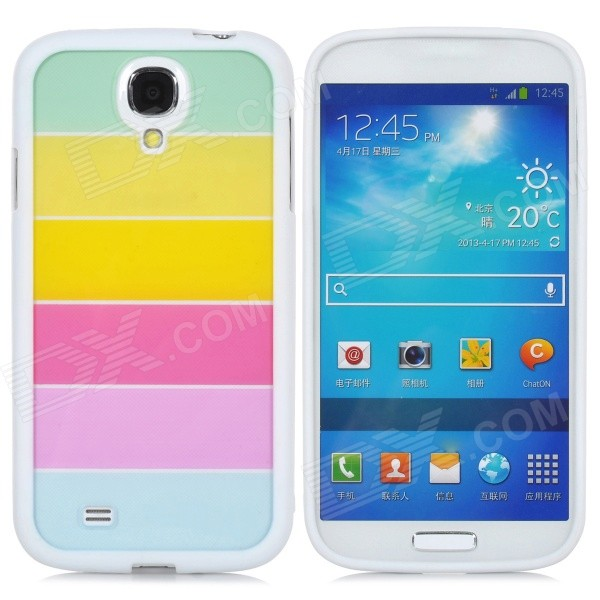 Colorful Protective TPU Back Case for Samsung Galaxy S4 - White + Mulitcolor feng ling sb5512 ultrathin young model double eyelid tapes white yellow 240 pieces pack