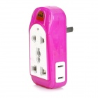 LYD-A137 Multi-Function Universal Power Adapter 4-Outlet Socket - Fuchsia + White