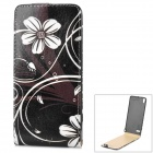 A344 Flower Pattern Protective PU Top-Down Case for Huawei P6 - Black + White + Multicolored