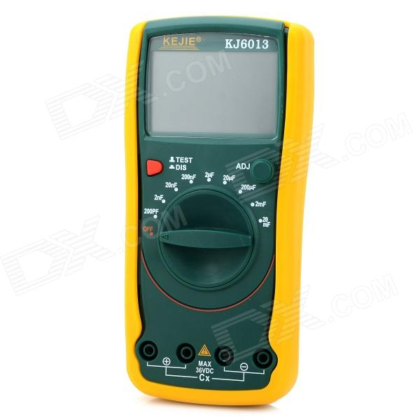 KJ-6013 3.6 LCD Display Digital Capacitance Meter Multimeter - Yellow + Green my68 handheld auto range digital multimeter dmm w capacitance frequency