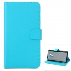 A-556 Protective PU Leather Case w/ Card Holder Slots for HTC One Max T6 - Light Blue