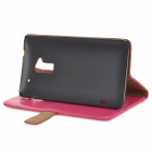 Stylish Protective PU Leather Case w/ Card Holder Slots for HTC One Max T6 - Deep Pink