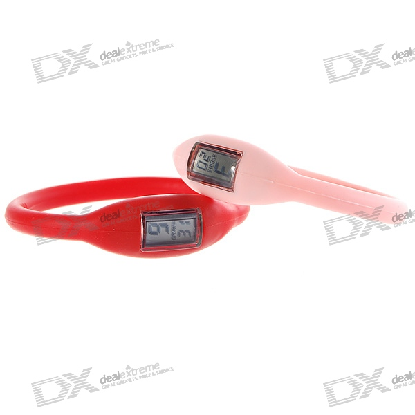 Ultra-Lite Waterproof Ionizer Sports Watch - Red + Pink (2-Pack/1*LR261)