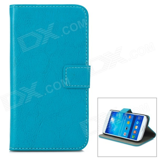 A-556 Protective PU Leather Case w/ Card Holder Slots for Samsung Galaxy S4 i9500 - Blue cm001 3d skeleton pattern protective plastic back case for samsung galaxy s4