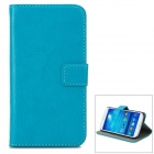 A-556 Protective PU Leather Case w/ Card Holder Slots for Samsung Galaxy S4 i9500 - Blue