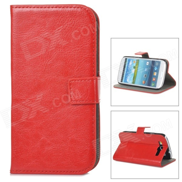 A-556 Protective PU Leather Case w/ Card Holder Slots for Samsung Galaxy S3 i9300 - Red a 556 protective pu leather case w card holder slots for samsung galaxy s3 i9300 pink