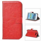 A-556 Protective PU Leather Case w/ Card Holder Slots for Samsung Galaxy S3 i9300 - Red