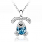 "EQute PSWW141C5 Fashionable Ocean Blue Rabbit Pendant Necklace - Light Blue (18"")"