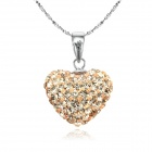 EQute 925 Sterling Silver Nude Color Heart Pendant Necklace - Champagne Gold