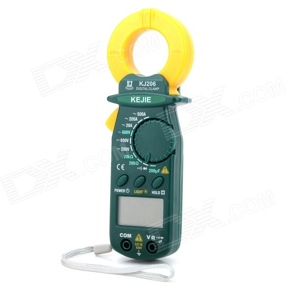KJ-206 Mini Portable 1.4 Screen Digital Multimeter - Yellow + Green uni t ut139a true rms digital multimeter auto manual range ac dc amp volts ohm tester with data hold ncv and battery test