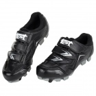 JAD SPO-108 Bicycle Breathable PU Shoes - Black + Silver (Size 42)