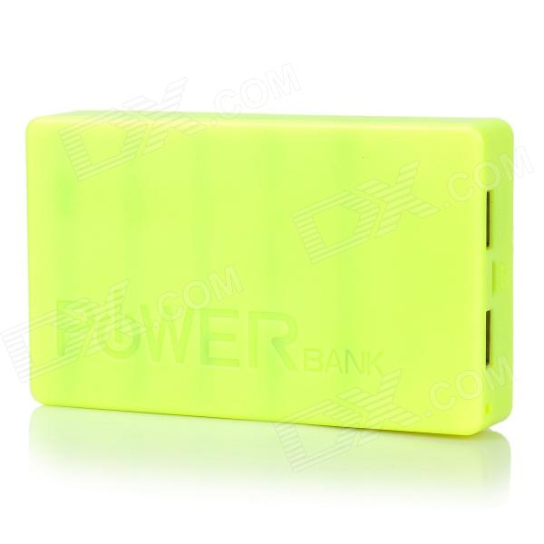 PG-1Q Universal Dual USB 5V 14000mAh Li-ion Battery Power Bank for Iphone / HTC + More - Green portable universal dual usb 5v 6000mah li ion battery power bank white green