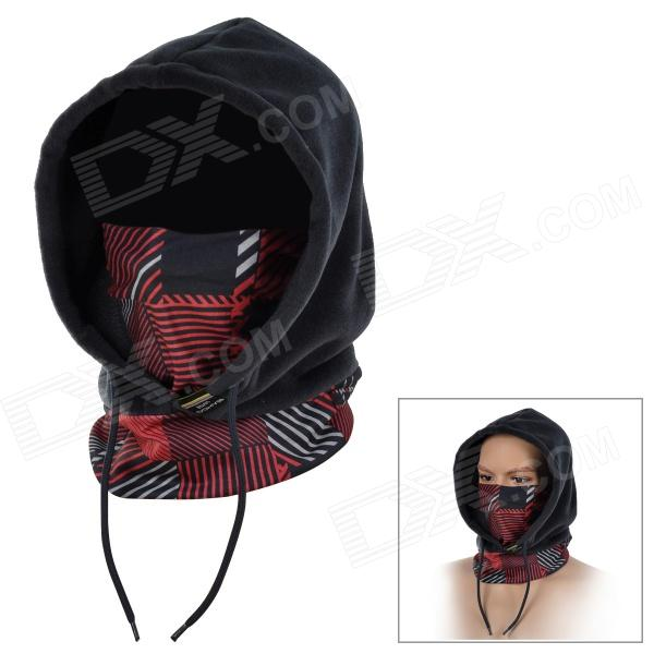 SAHOO 46867-506  Universal Four Seasons Fleece Masked Cap for Women - Red + Black (Free Size) 6 kinds of functions windproof hoods masked cap black