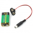RRR4 9V Batteries w/ Battery Snap Connectors for Arduino Power Cable - Black + Red (5 PCS)