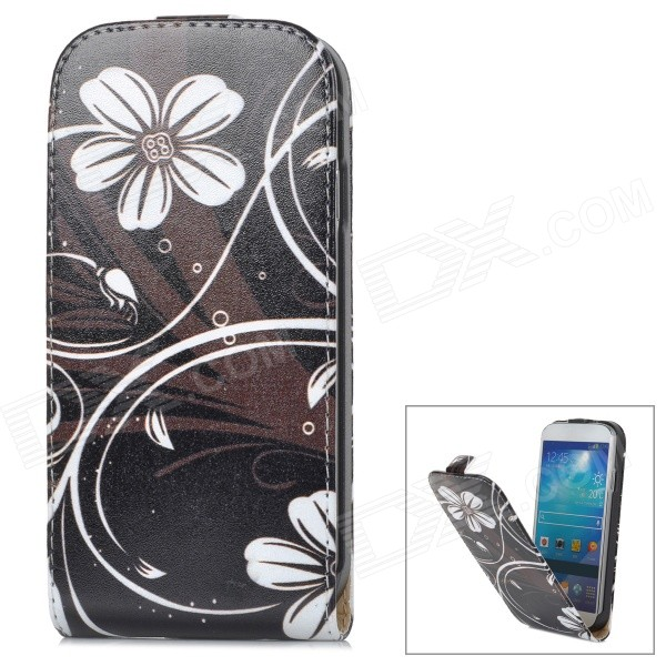 Flower Style Protective Flip-Open PU Leather Case for Samsung Galaxy S4 i9500 - Black + White protective flip open pu leather case for samsung galaxy s4 i9500 white