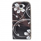 Flower Style Protective Flip-Open PU Leather Case for Samsung Galaxy S4 i9500 - Black + White