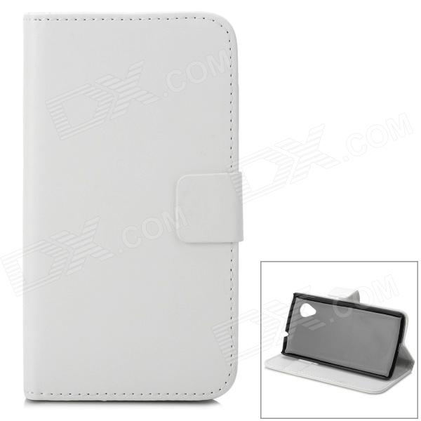Protective PU Leather Case w/ Card Holder Slots for LG Nexus 5 - White + Black