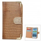 Protective PU Leather Case for Samsung Galaxy S3 i9300 - Brown + Golden