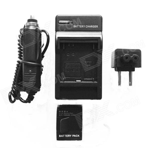 1300mAh Li-ion Battery & Car Adapter & Travel Charger for GoPro Hero 3/3+  US Plug