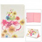 Protective Painted Flower PU Leather Case w/ Crystal for Ipad AIR - Red + White