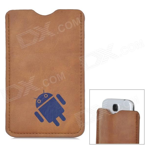 B-89 Android Robot Pattern Protective PU Leather Pouch Bag for 5 Cell Phone - Brown viruses cell transformation and cancer 5