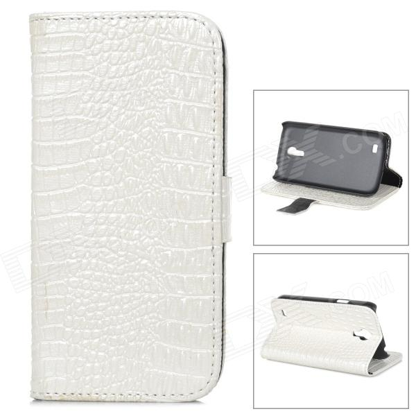 Crocodile Grain Style Protective PU Leather Case for Samsung Galaxy S4 Mini i9190 - White mp3 плееры liberty project плеер mp3 мышка черный коробка