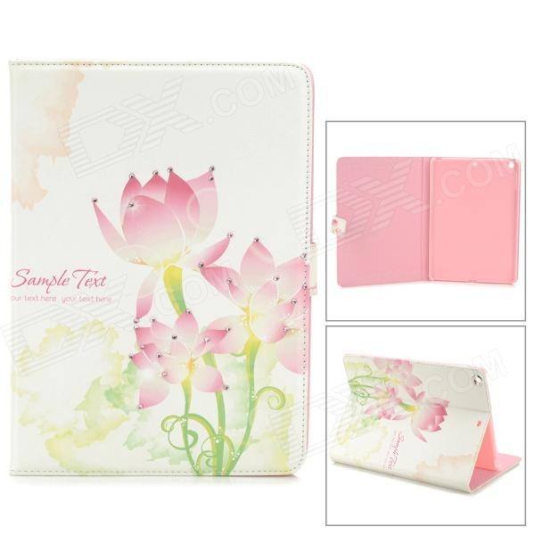 Protective Painted Lotus PU Leather Case w/ Crystal for Ipad AIR - Pink + White - DXCases for Ipad<br>Color White + Pink Quantity 1 Piece Material PU leather + plastic Compatible Models Ipad AIR Style Flip Open Auto Wake-up / Sleep Yes Other Features Can protect your Ipad from scratches bumps and dust; Direct external access to all buttons controls and ports; Unqiue pattern a great decoration for your Ipad Packing List 1 x Protective case<br>