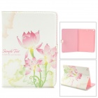 Protective Painted Lotus PU Leather Case w/ Crystal for Ipad AIR - Pink + White