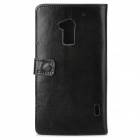 Stylish Protective PU Leather Case w/ Card Holder Slots for HTC One Max T6 - Black